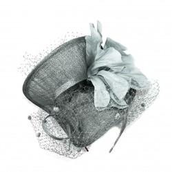Chapeau mariage Chapeau de cérémonie fleur plumes voilette gris