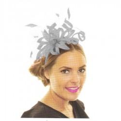 Chapeau mariage Headband bibi lys gris