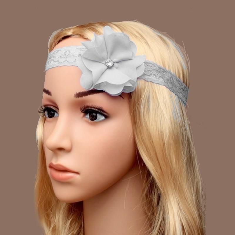 Chapeau mariage Headband stretch dentelle fleur et strass gris