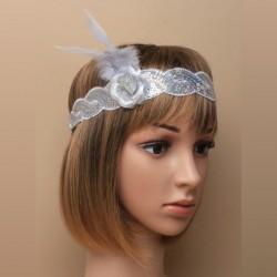 Chapeau mariage Headband stretch sequins gris argent vintage