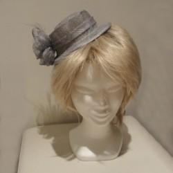 Chapeau mariage Petit chapeau cérémonie sisal gris