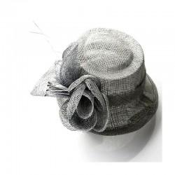 Petit chapeau cérémonie sisal gris
