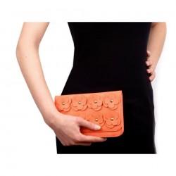 Sac pochette mariage cuir orange saumon peche