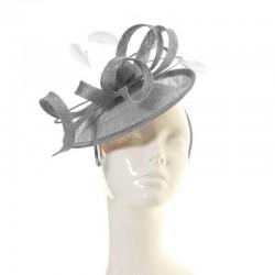 Accessoire de coiffure sisal et plumes gris