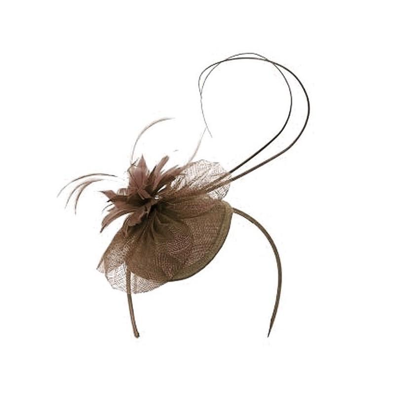 Chapeau mariage Bibi mariage fleur et plumes marron café