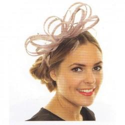 Chapeau mariage Bibi volutes de ruban noué rose foncé