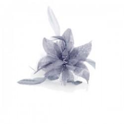 Chapeau mariage Fleur en voile gris sur peigne