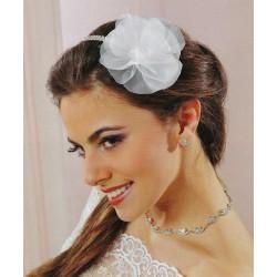 Headband mariage fleur organza et cristal