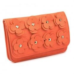 Sac pochette mariage cuir orange corail