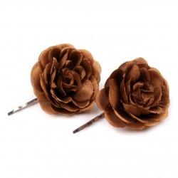 2 fleurs en tissu sur pince cheveux - marron