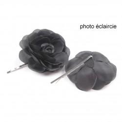 2 fleurs en tissu sur pince cheveux - noir