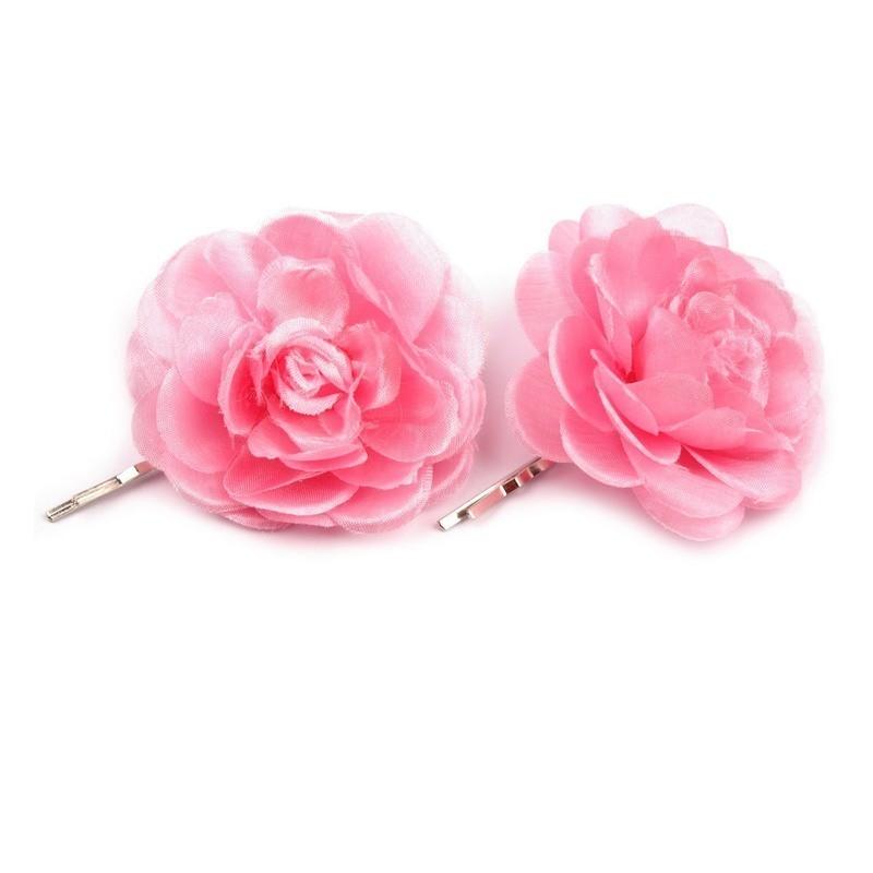 2 fleurs en tissu sur pince cheveux - Rose