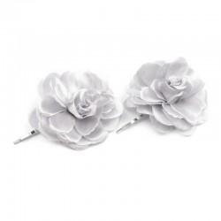 2 fleurs en tissu sur pince cheveux - Gris clair