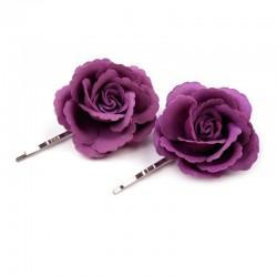 2 fleurs dentelées sur pince cheveux - violet