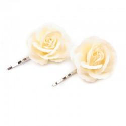 2 fleurs dentelées sur pince cheveux - ivoire