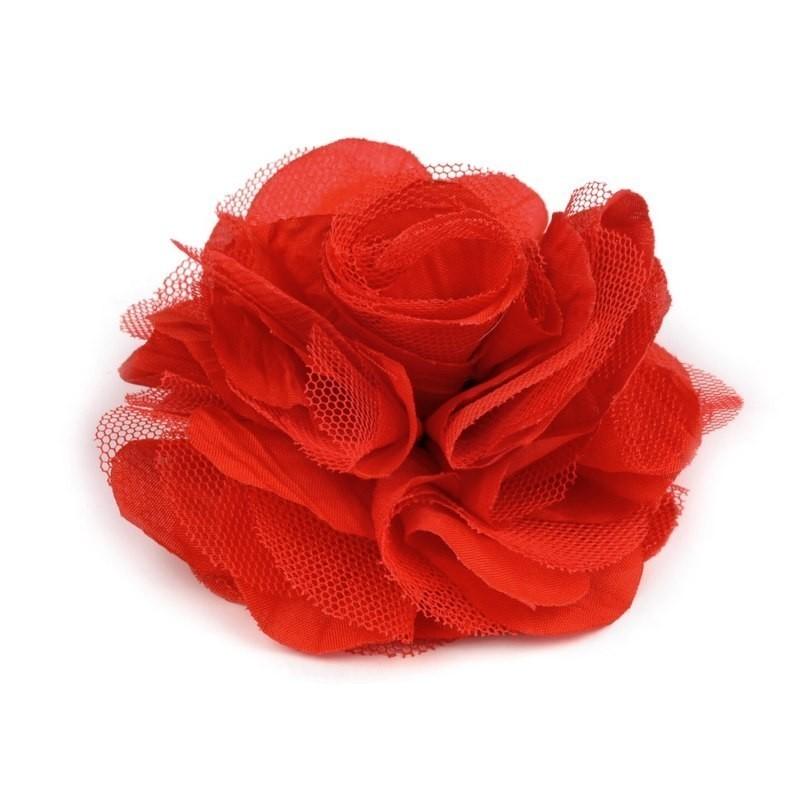 Grosse Fleur Cheveux Ou Broche Rouge