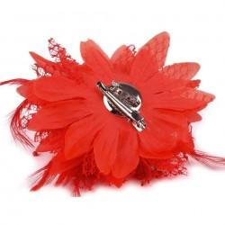 Broche ou accessoire cheveux rouge perles dentelle