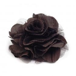 Grosse fleur broche ou accessoire cheveux marron tulle tissu
