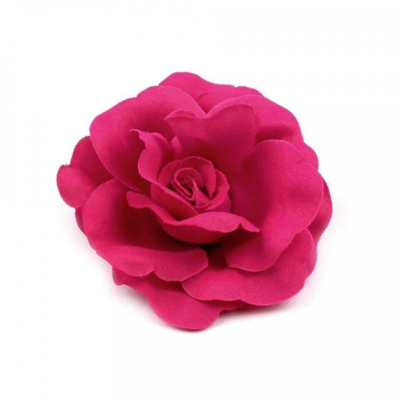 Rose pour cheveux ou broche rose fuchsia