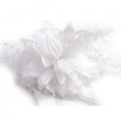 Broche ou accessoire cheveux blanc perles dentelle