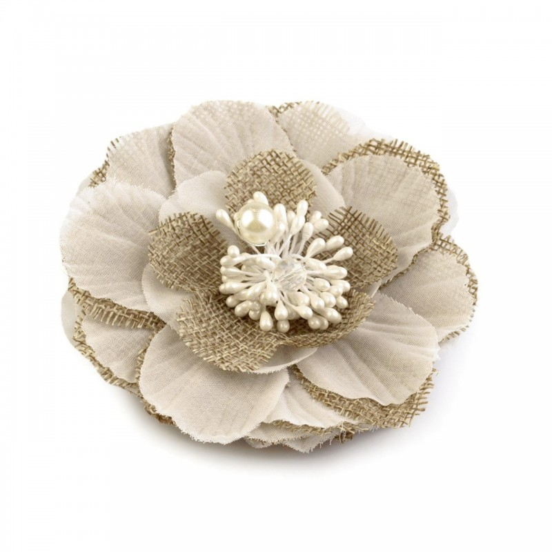 Fleur cheveux ou broche blanc beige