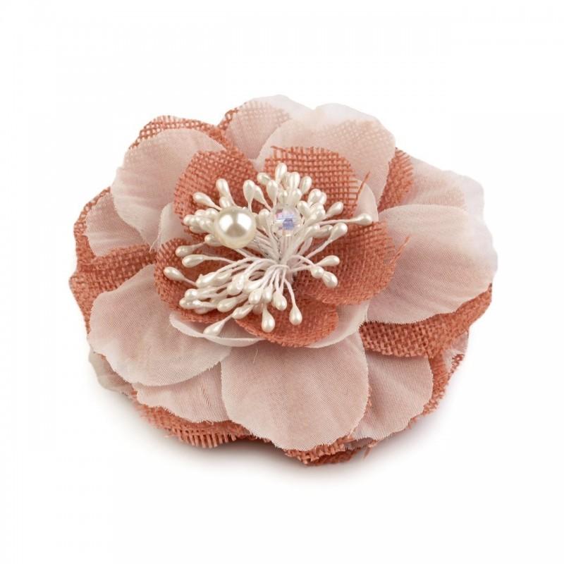 Fleur cheveux ou broche rose corail