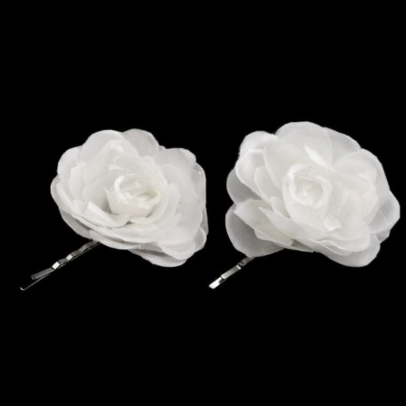 2 fleurs en tissu sur pince cheveux - blanc