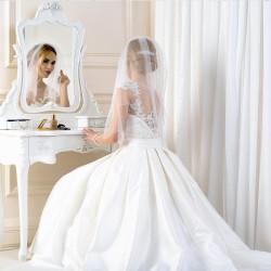 Voile mariage brodé perles cristal