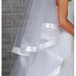 Voile mariage double couche bordure large satin