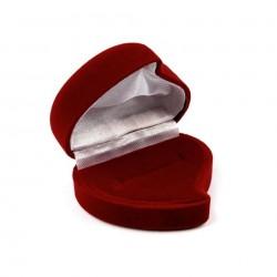 Porte alliances coeur en velours rouge