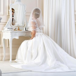 Voile mariée brodé fleurs sequins