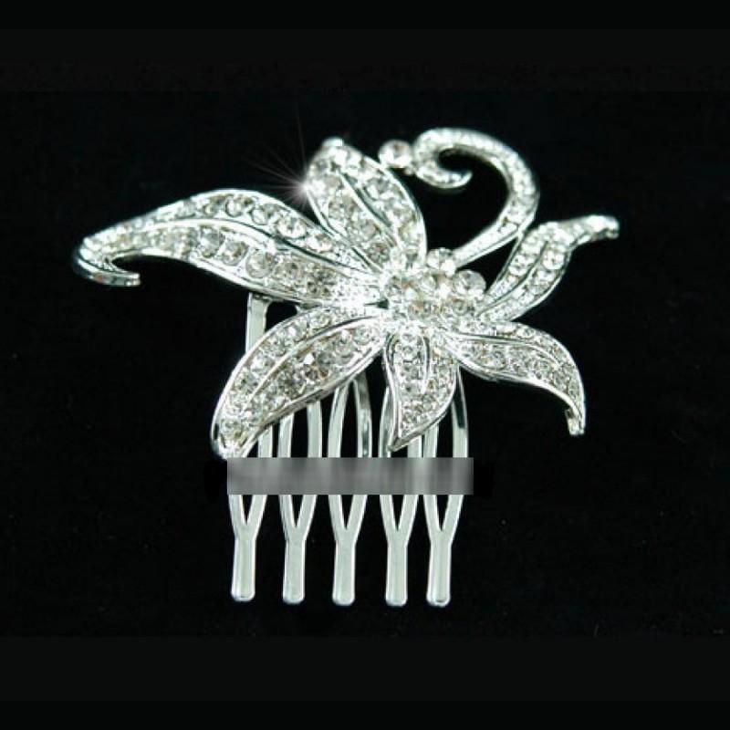 Peigne cristal fleur