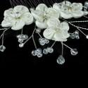 Peigne mariage fleurs ivoires, perles cristal et cristal