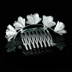 Peigne mariée arrondi fleurs perles cristal