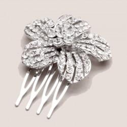 Petit peigne fleur cristal argent
