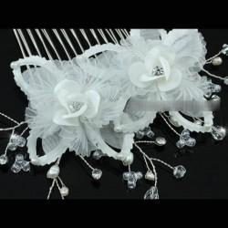 Peigne mariage fleur satin ivoire, perles et cristal