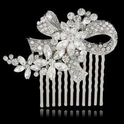 Peigne cristal noeud et fleurs