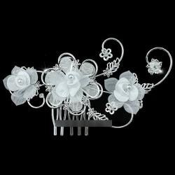 Peigne mariage fleur en voile blanc