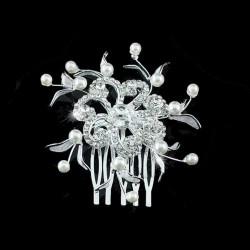 Peigne mariage cristal et perles nacre