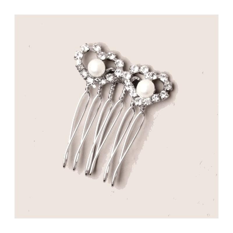 Petit peigne coeur cristal et perles