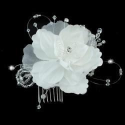 Peigne mariage fleur satin blanc et cristal