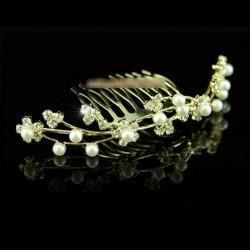 Peigne tiare de mariage fleurs entrelacées cristal et or
