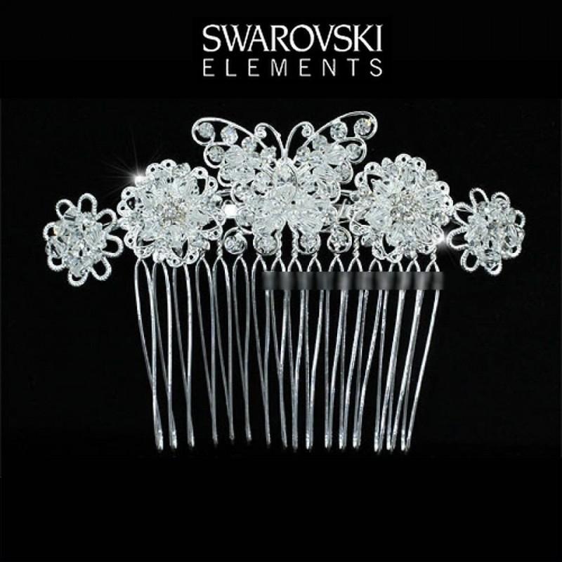 Peigne mariage papillon cristal Swarovski