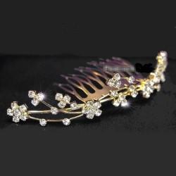 Peigne tiare de mariage cristal et or