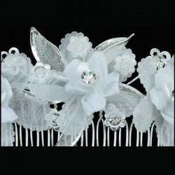 Peigne mariage fleurs satin blanc et cristal
