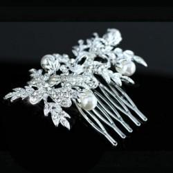 Peigne mariage feuilles cristal et perles
