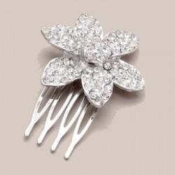 Petit peigne cristal et fleur argent