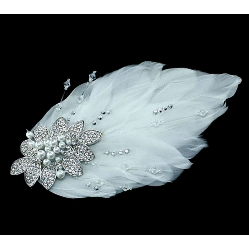 Accessoire coiffure mariage plumes perles cristal