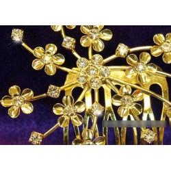 Peigne mariage doré fleurs cristal