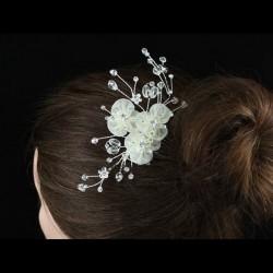 Peigne mariage cristal et fleur organza ivoire